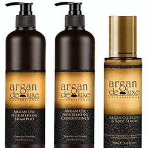 Combo argan deluxe gội xả tinh dầu phục hồi tóc hư tổn 950ml