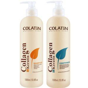 Bộ dầu gội xả Colatin cho tóc khô hư tổn 1000ml