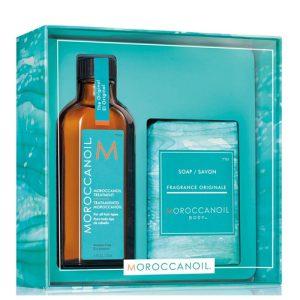 Combo tinh dầu và xà phồng tắm Moroccanoil